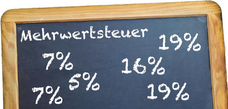Kreidetafel mit Mehrwertsteuersätzen 5%, 7%, 15% und 19%