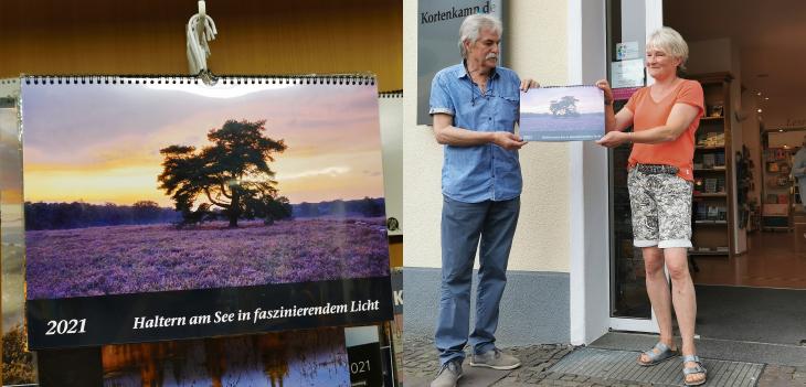 Präsentation des neuen Haltern-Kalenders vor der Buchhandlung Kortenkamp in Haltern am See