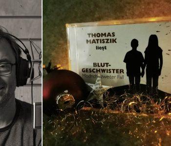 Thomas Matiszik im Studio und das fertige Hörbuch