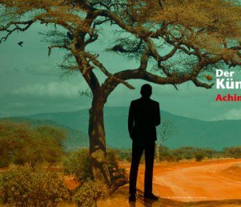 Eine afrikanische Landschaft mit einem großen Baum im Vordergrund. Unter dem Baum steht die schwarzen Silhouette des Mannes.